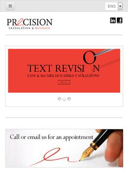 precision website tablet responsive screenshot